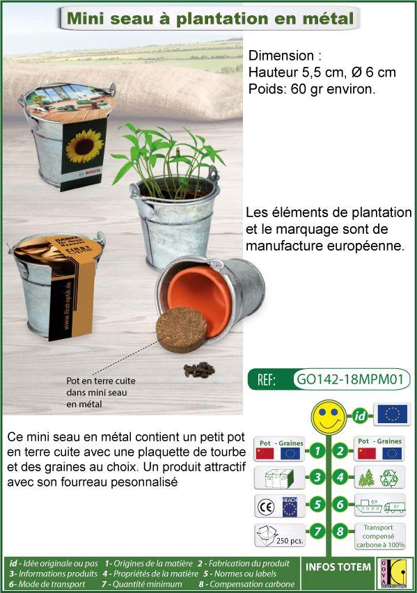 Seau de plantation en métal avec graines au choix et emballage publicitaire