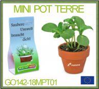 Mini pot en terre cuite avec graines et enveloppe cartonnée pour votre marquage publicitaire