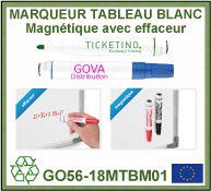 Marqueur tableau blanc magnétique avec effaceur 4 couleurs