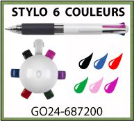 Stylo bille 6 couleurs SIXLA - GO24-687200