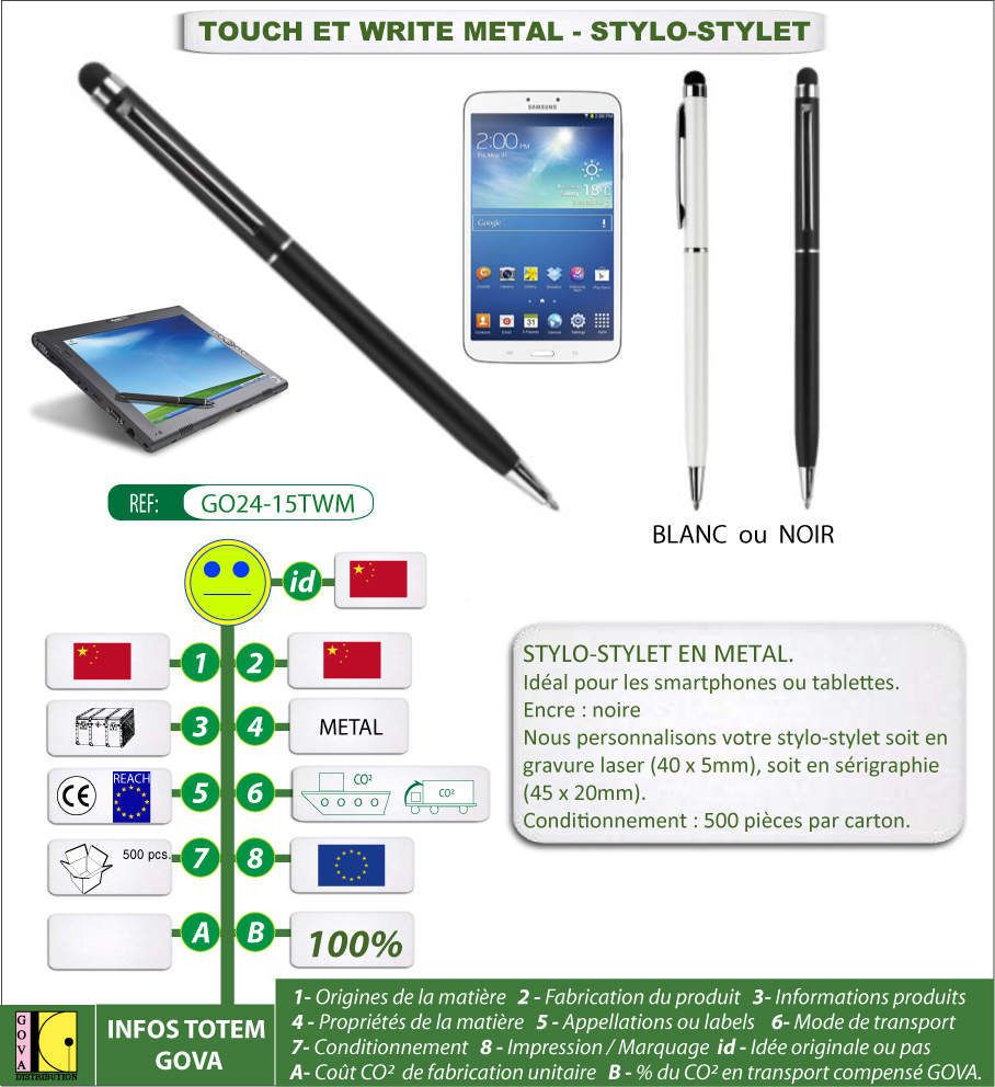 Stylet / stylo TOUCH WRITE METAL
