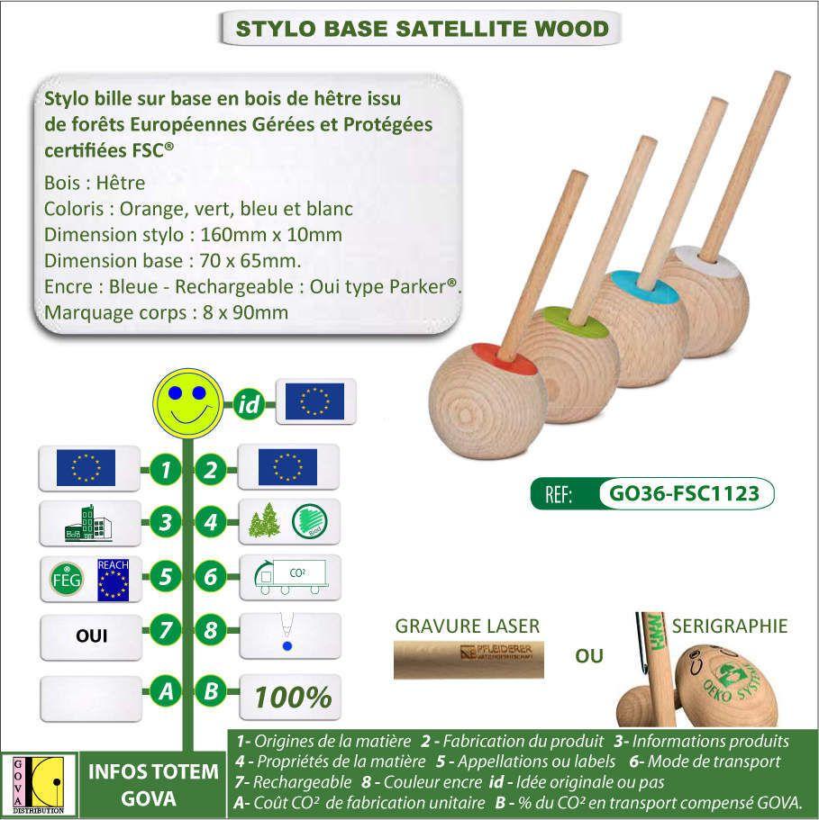 Stylo de comptoir satellite wood bois certifié FSC