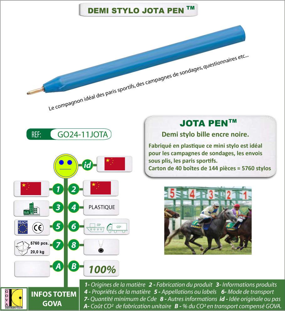 Demi stylo Jota pen idéal pour une promotion de masse, les paris sportifs - GO24-11JOTA
