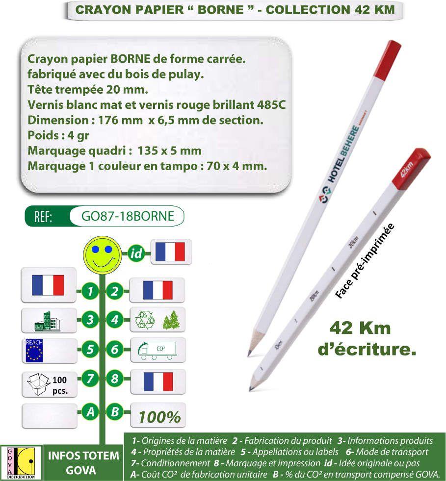 Crayons papier publicitaire BORNE fabriqués en bois de pulay - Collection 42 km