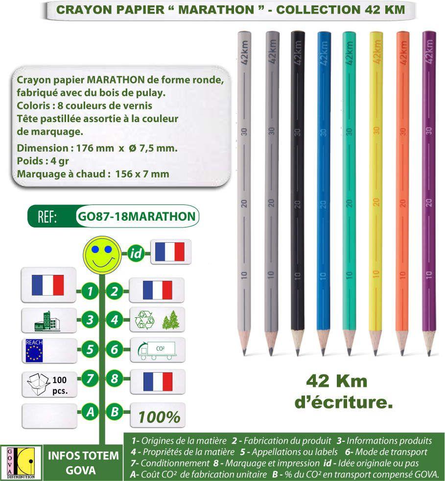 Crayons papier publicitaire MARATHON fabriqués en bois de pulay - Collection 42 km