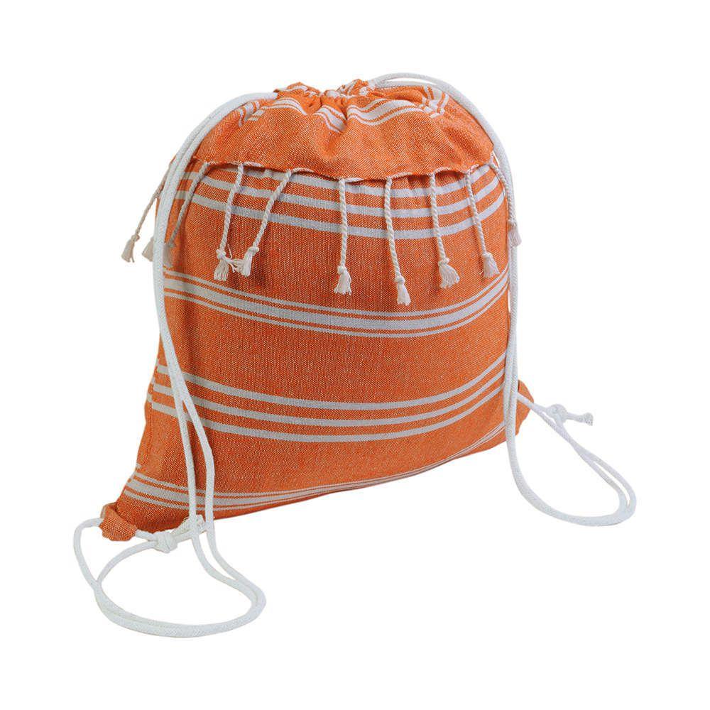 Sac à dos en coton orange avec effet foutra 38 x 42 cm