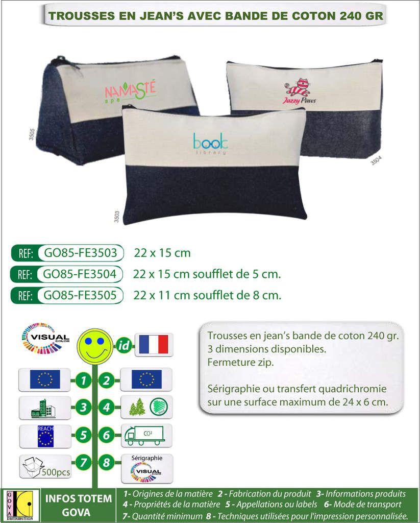 Trousses en jean's publicitaires avec bande de coton 240 gr - 3 modèles proposés - GO85-FE35xx