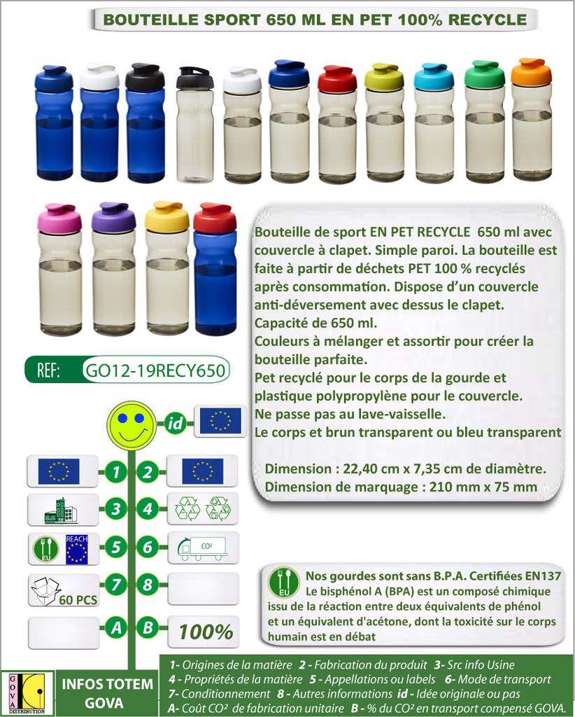 Bouteille de sport 650 ml en plastique PET cent pour cent recyclé - GO12-19RECY650