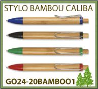 Stylo bille Caliba bambou attributs abs marquage publicitaire - GO24-20BAMBOO1