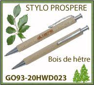 Stylo bille Prospere bois de hêtre attributs metal marquage publicitaire - GO93-20HWD023