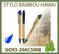 Stylo bille hawai bambou attributs abs marquage publicitaire - GO93-20AC5008