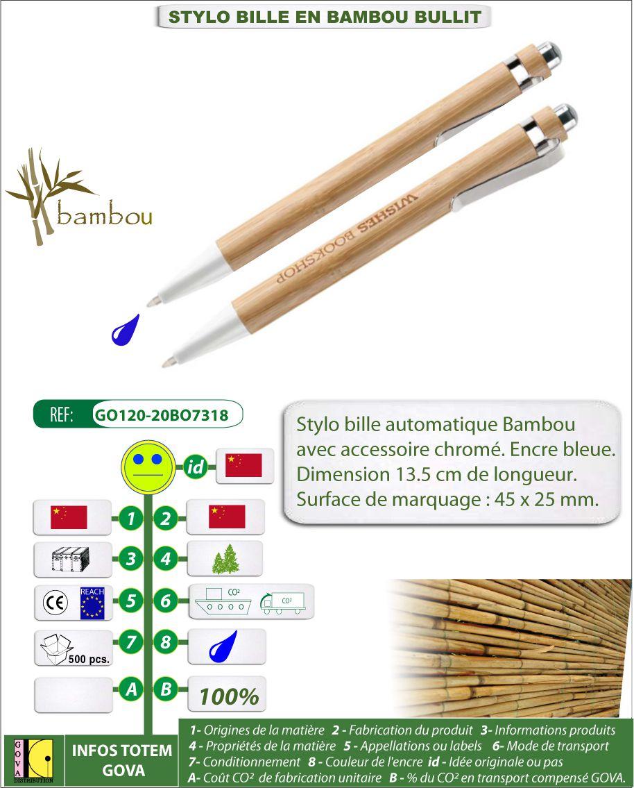 Stylo bille Bullit en bambou avec marquage personnalisé - GO120-20BO7318