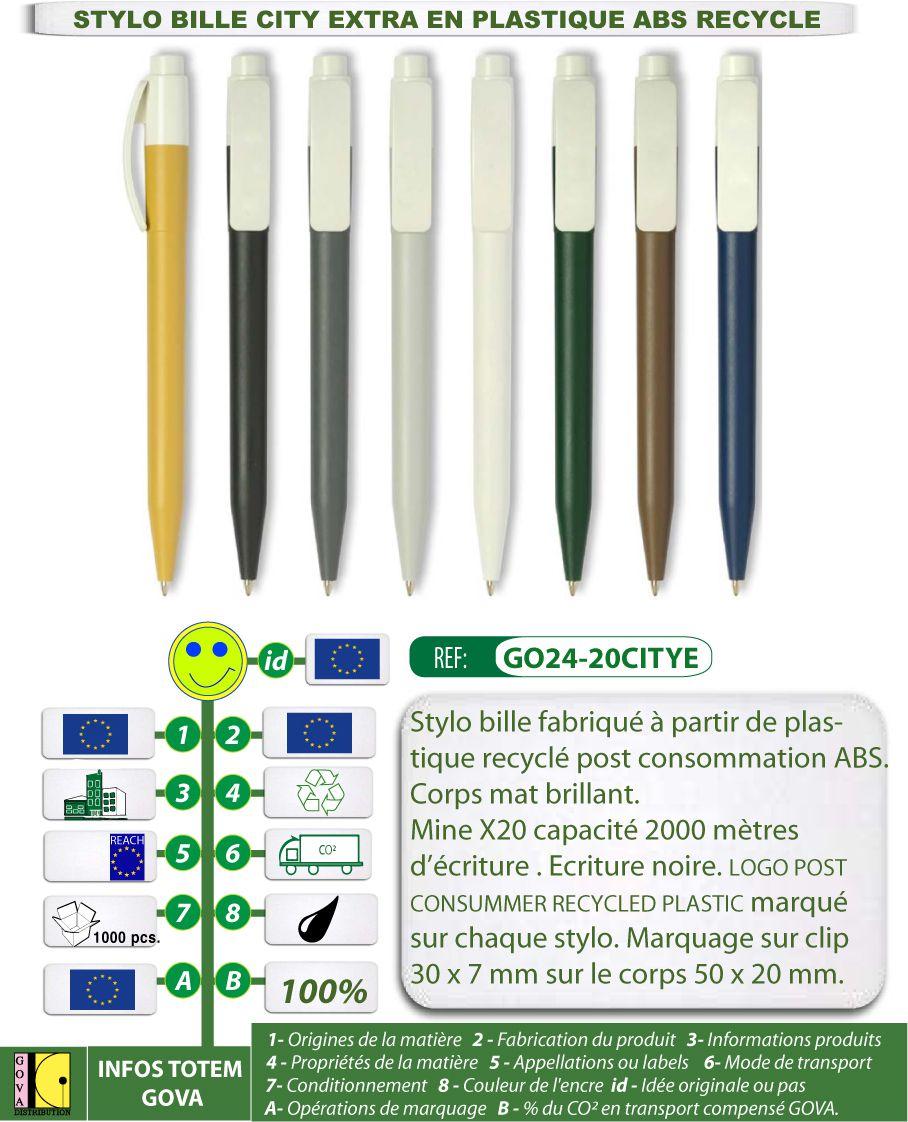 Stylo bille City Extra en plastique ABS recyclé fabrication europe - GO24-20CITYE