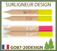 Surligneur Design en pin sylvestre Français 4 couleurs de mines disponibles - GO87-20DESIGN