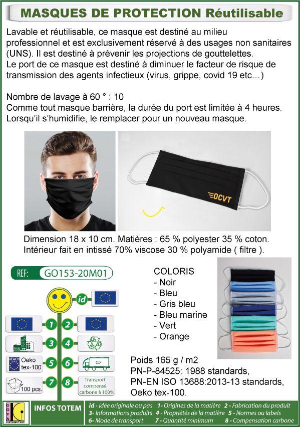 Masque de protection lavable et réutilisable contre le covid19