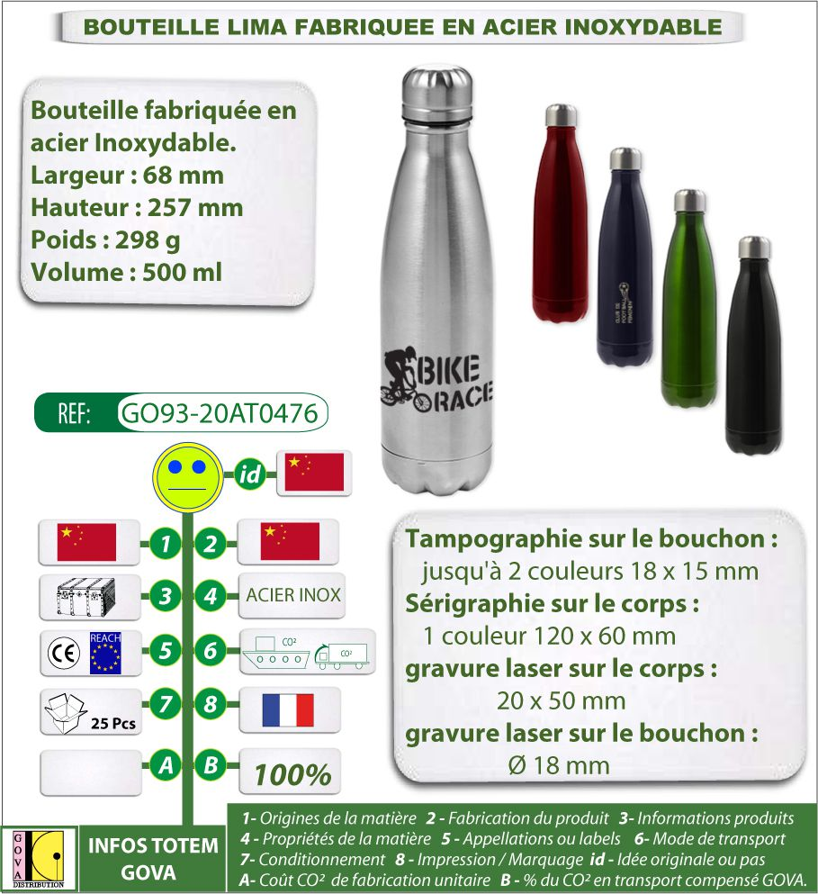 Bouteille bidon gourde isotherme LIMA 500 ml en Acier inoxydable - GO93-20AT0476