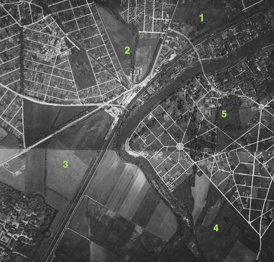 Photo aérienne de 1929 Vues de Chelles sud-ouest, Gagny sud-est, Neuilly sur Marne est et Gournay...