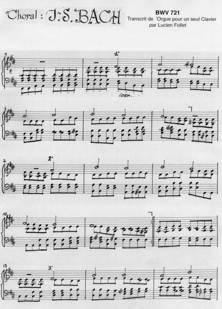 Choral de BACH : BWV 721, transcrit de l'Orgue pour un seul Clavier (partition)
