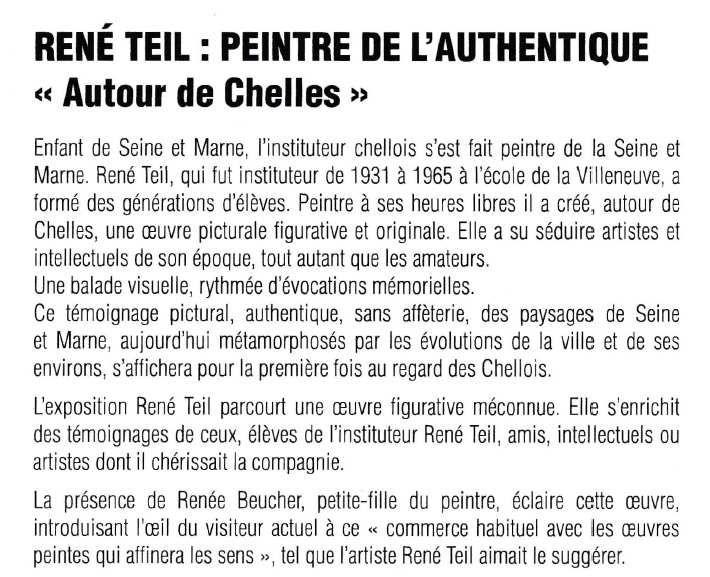 Le peintre René TEIL  à Chelles pour le centenaire de sa naissance