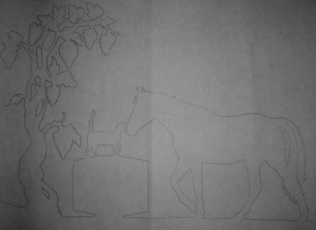 Girouette cheval et chat