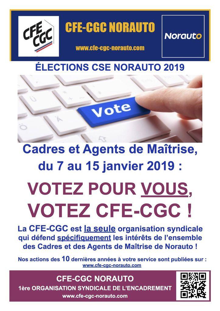 Informations CFE-CGC Elections Norauto du 7 au 15 janvier 2019