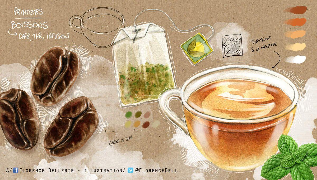 Croquis et illustrations culinaires : café, thé, infusion