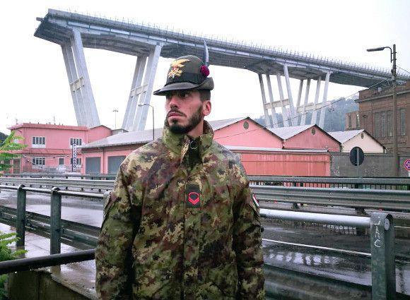 Genova:gli Alpini della Taurinense presidiano zona rossa Ponte Morandi