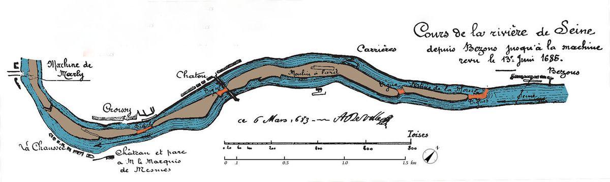 Plan du cours de la Rivière la Seine en 1685, avant la Machine de Marly