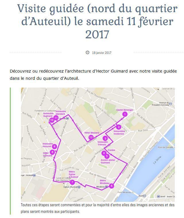 Visite guidée du 11 février 2017 par Agathe conférencière du  Cercle Guimard : Paris XVIème nord
