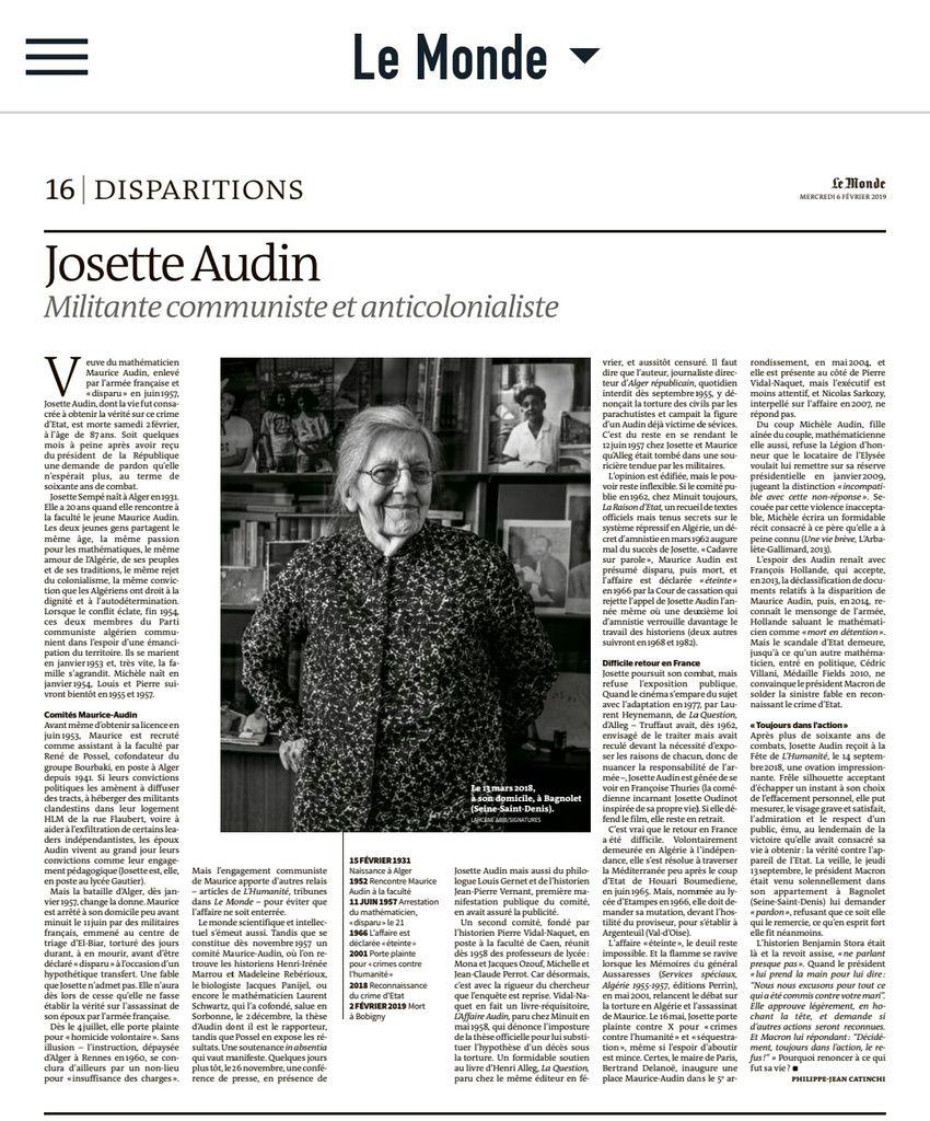 La nécrologie de Josette Audin dans Le Monde aujourd'hui 5 février