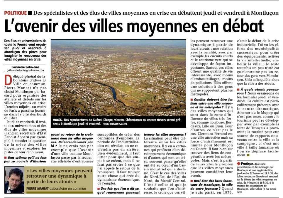Villes moyennes crise et renouveau, dans La Montagne Montluçon