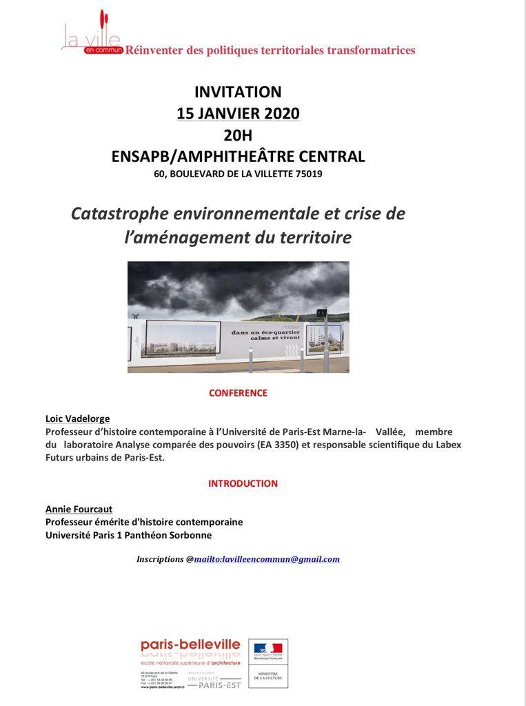 15 Janvier 2020, Assemblée générale de La Ville en commun