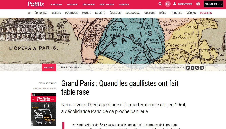 Plusieurs articles Grand Paris dans Politis #GrandParis #metropole #Paris