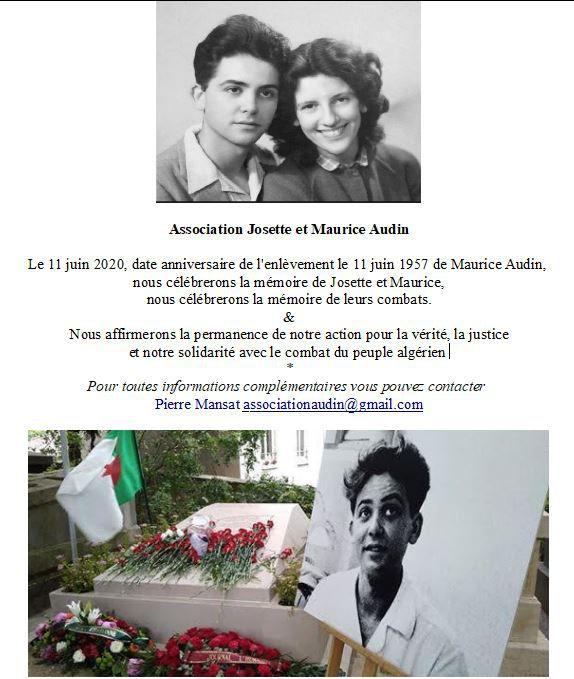11 juin 2020, date anniversaire de l'enlèvement de Maurice Audin [21 juin 1957]