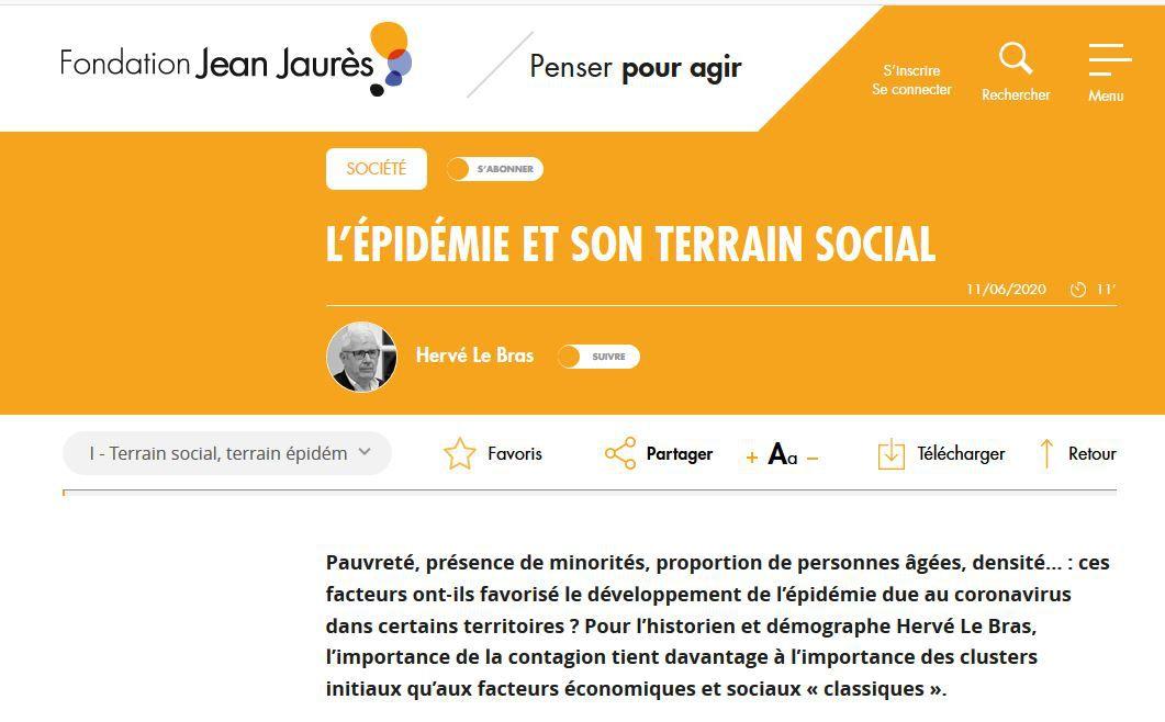 L'épidémie et son terrain social, une étude d'Hervé Le Bras pour la Fondation Jean Jaurès #covid19