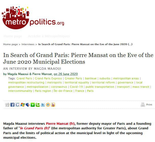 Search of Grand Paris: Pierre Mansat on the Eve of the June 2020 Municipal Elections. An interview by Magda Maaoui
