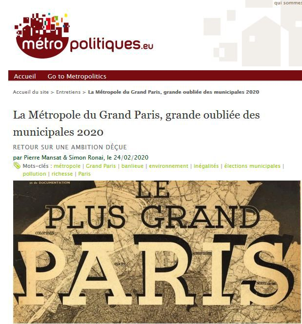 The Metropolis of Greater Paris, the forgotten city of 2020.  A return to a disappointed ambition by Pierre Mansat & Simon Ronai #Paris #greaterparis