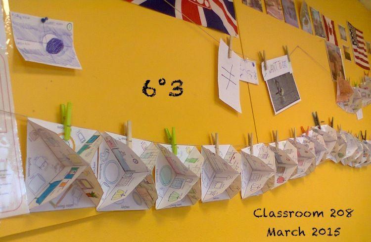 6° : textes rédigés avec nos maisons 3D en papier.