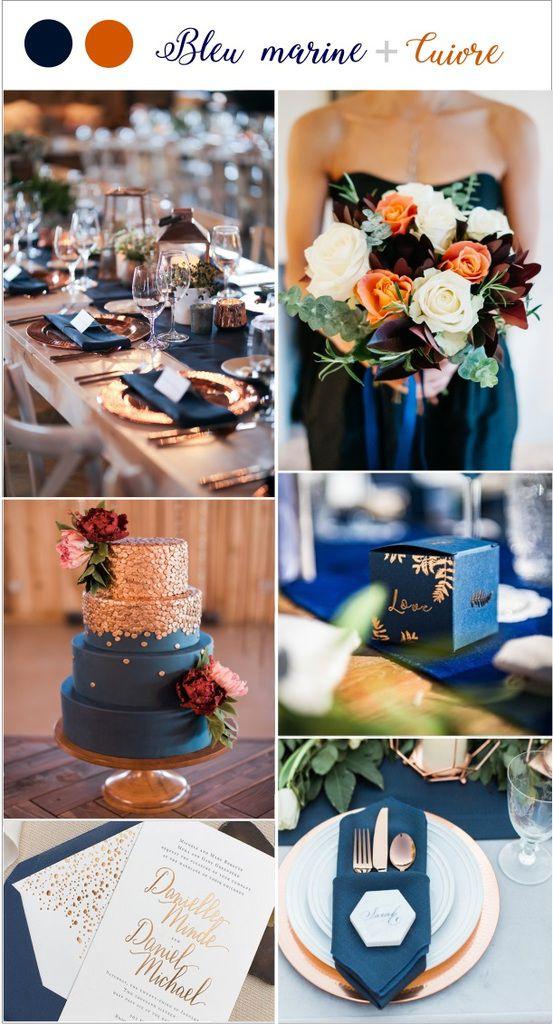 decoration mariage couleur tendance 2019 bleu marine cuivre