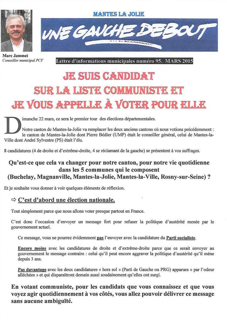 Je suis candidat sur la liste communiste et je vous appelle à voter pour elle