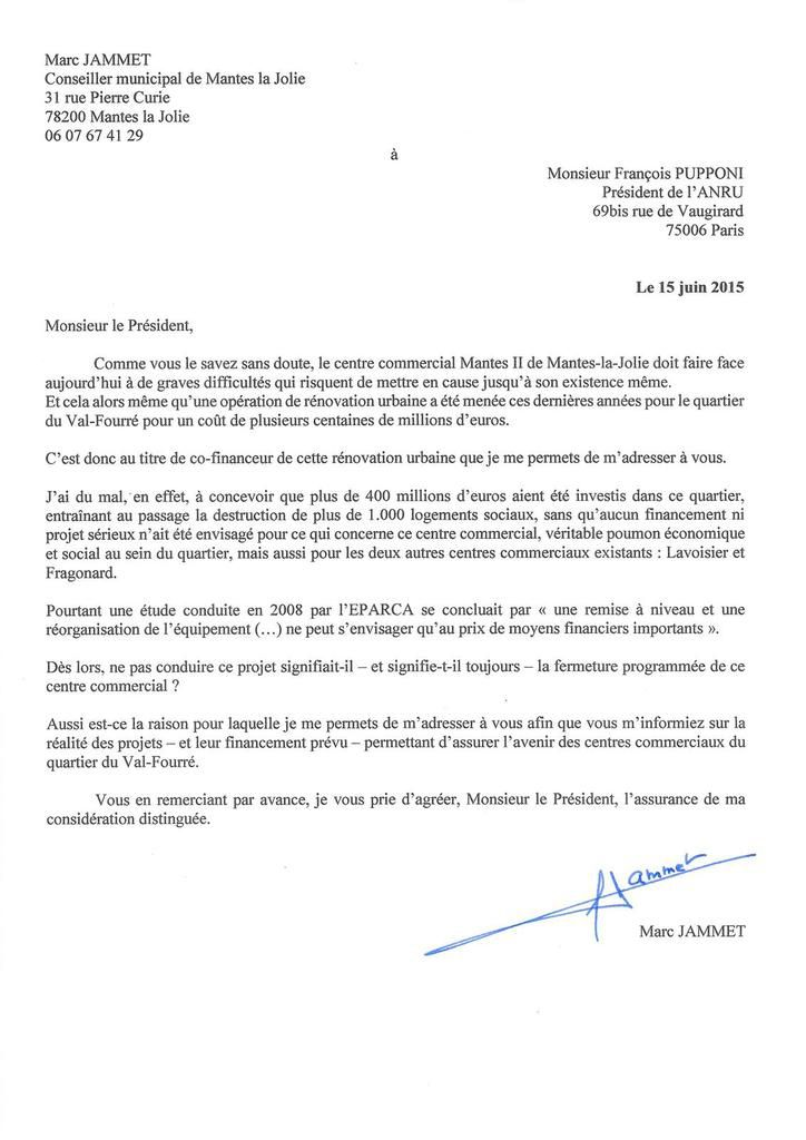 Les courriers adressés aux Présidents de l'ANRU, de la Région, du département et de la CAMY