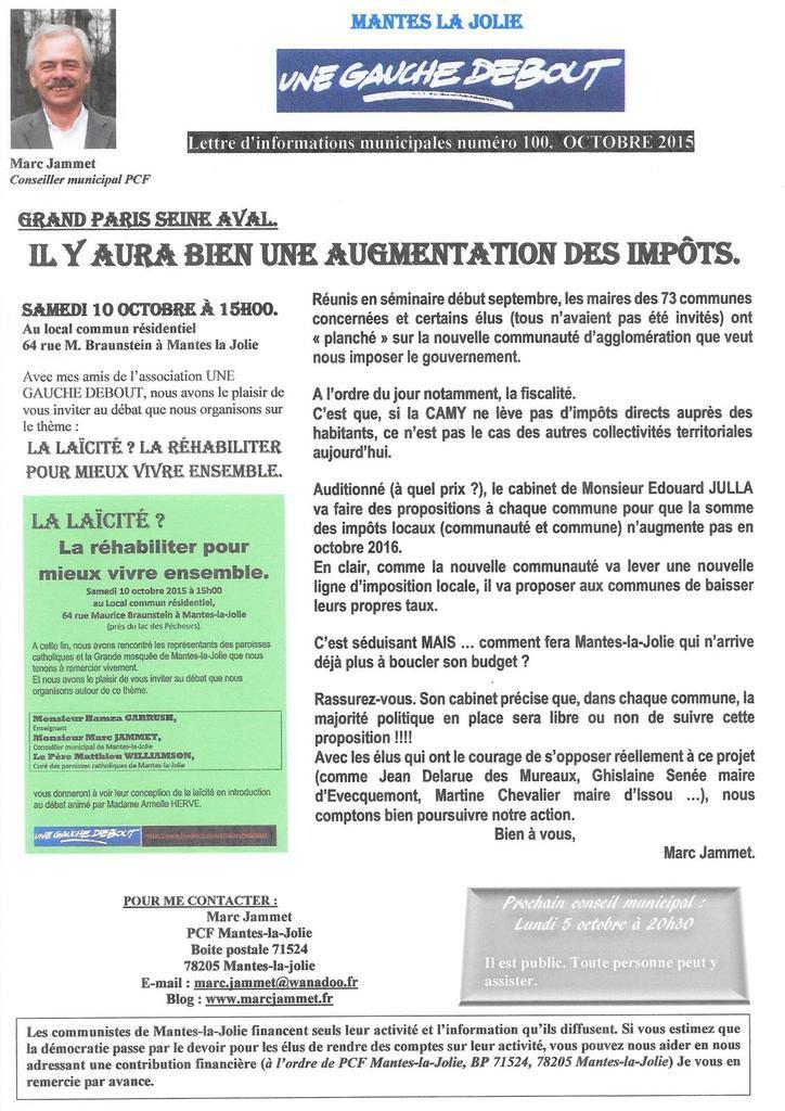 """""""Grand-Paris-Seine-Aval"""". IL Y AURA BIEN UNE AUGMENTATION DES IMPÔTS."""
