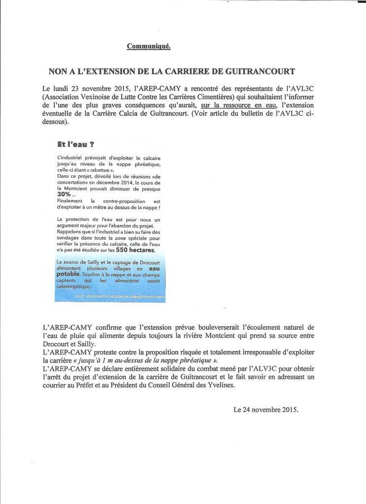L'AREP-CAMY contre l'extension de la carrière de Guitrancourt