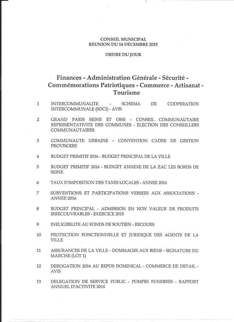 L'ordre du jour du Conseil municipal lundi 14 décembre 2015