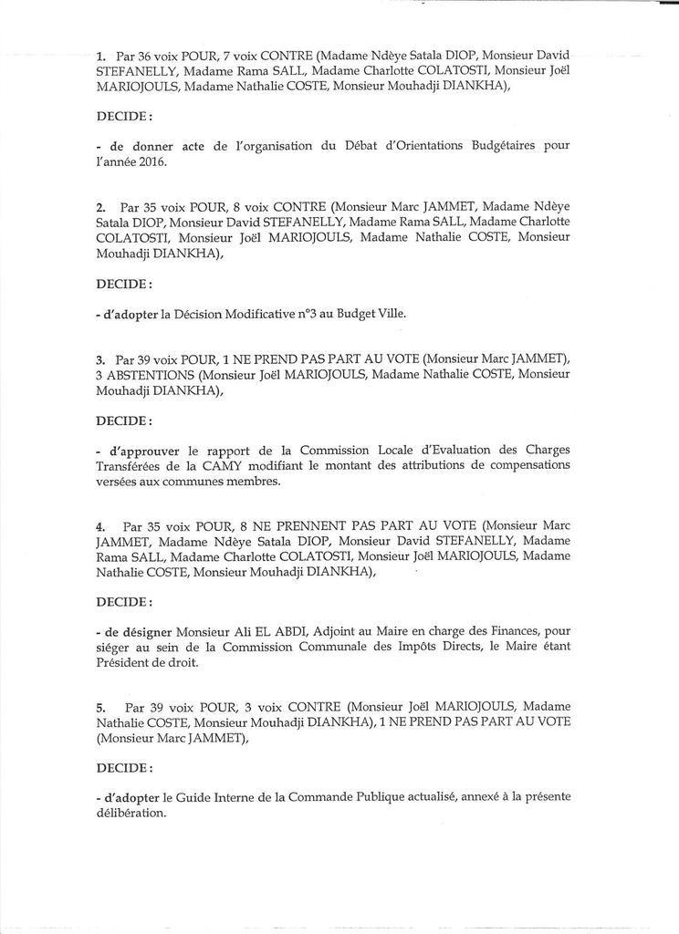 Le compte-rendu analytique du Conseil municipal du 23 novembre 2015
