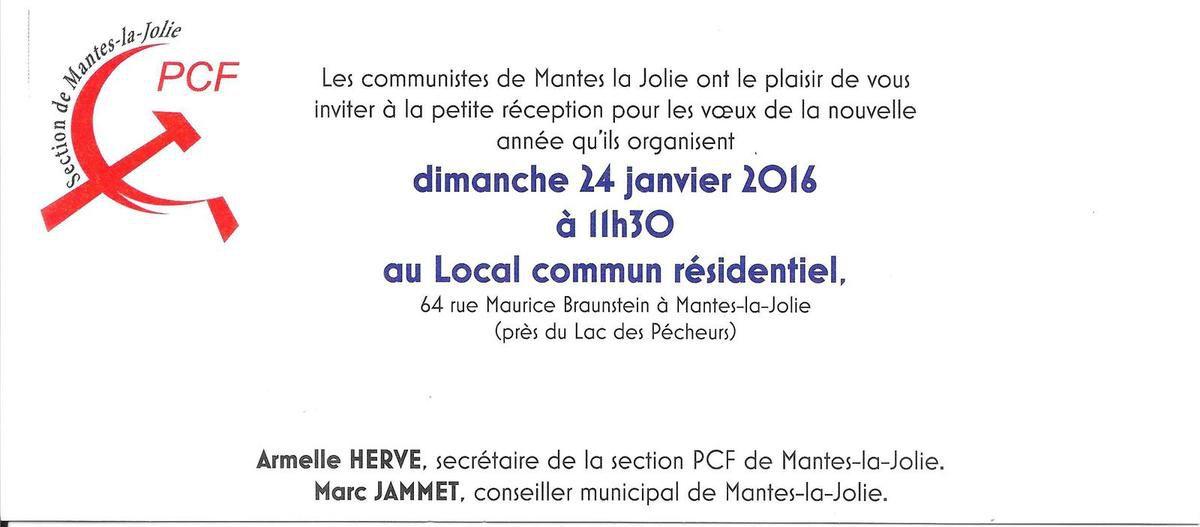 Dimanche 24 janvier à 11h30, les voeux des communistes de Mantes-la-Jolie