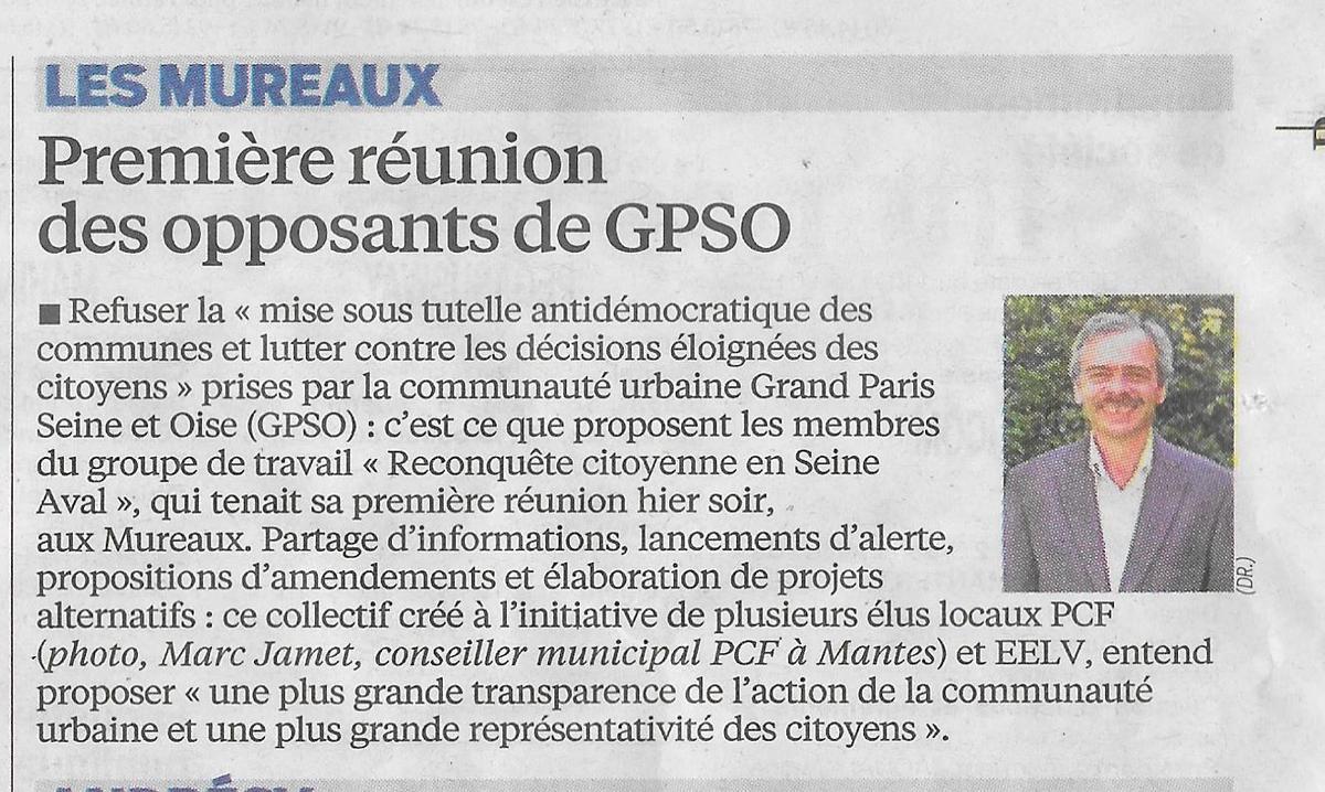 Le Parisien. Première réunion des opposants de GPSO