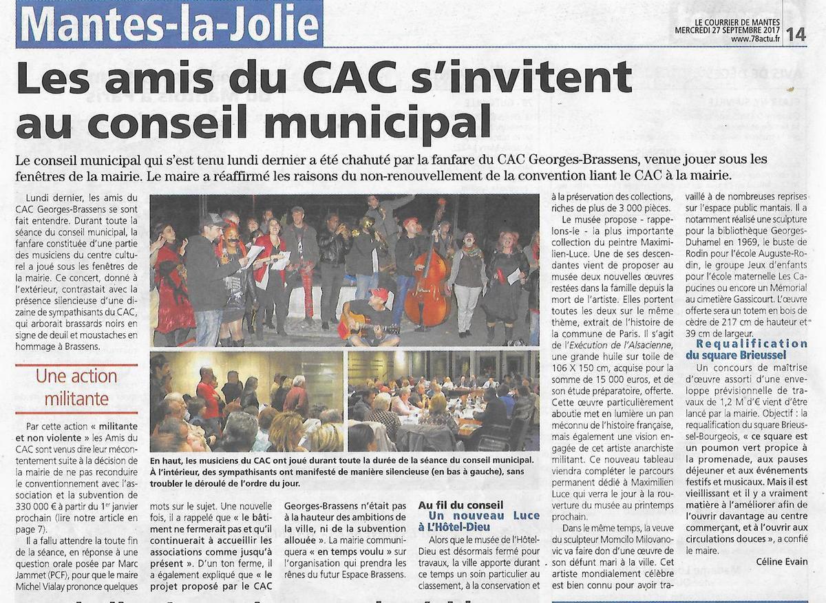 Le Courrier de Mantes. Les amis du CAC s'invitent au Conseil municipal