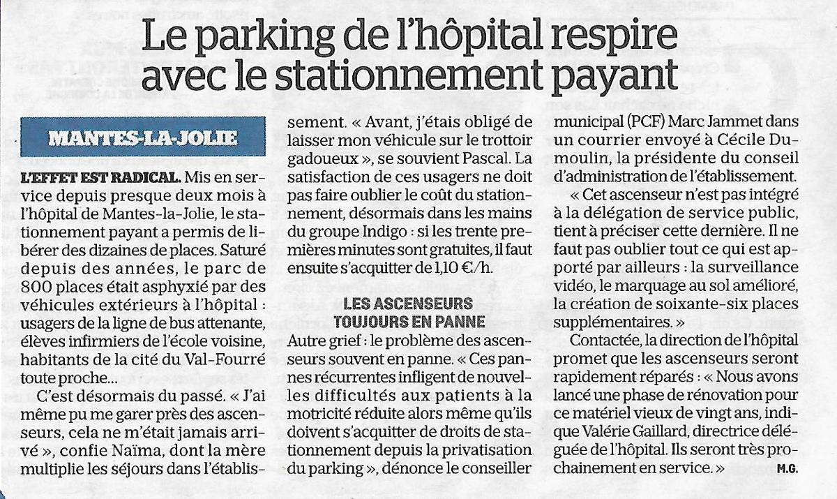 Le Parisien. Le parking de l'Hôpital respire après le stationnement payant