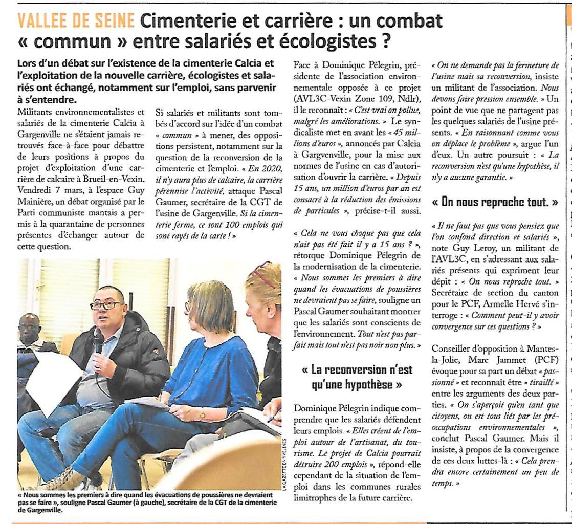 """La Gazette des Yvelines. Cimenterie et carrière: un combat """"commun"""" entre salariés et écologistes ?"""